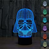 Padaday Star War Darth Vader 3D optical illusion night color change USB Touch button LED desk table light lamp