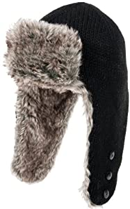 Nirvanna Designs CH507 Russian Earflap Hat with Buttons and Faux Fur, Black