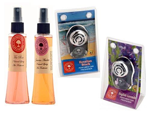 Aromatree Air Fresheners (tea Rose 75 Ml, Jasmine Absolute 75 Ml, Hawaiian Beach 10 Ml, English Lavender 10 Ml) Pack Of 4 Image