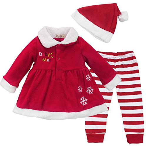 YiZYiF Baby Girls Christmas Santa Claus Dress Leggings Hat Outfit Xmas Costume 12 Months
