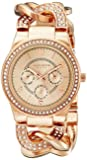 "Akribos XXIV Women's ""AK558RG"" Quartz Multi-Function Crystal-Accented Twist-Chain Watch in Rose-Gold Tone"
