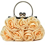 Scarleton Satin Evening Bag with Rosettes H3210