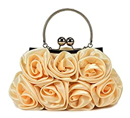Scarleton Satin Evening Bag with Rosettes H321018 - Gold