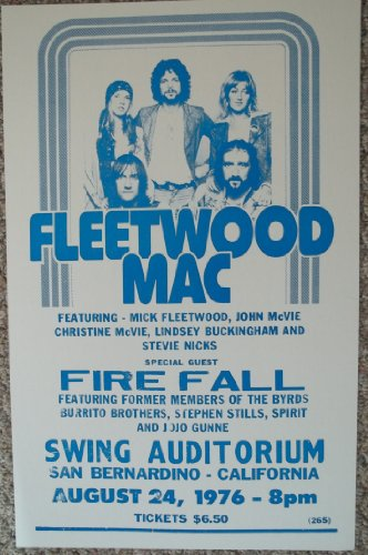 Fleetwood Mac and Fire Fall in San Bernardino California Concert Poster (Fleetwood Mack Poster compare prices)