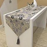 おしゃれ テーブル ランナー 空間 モダン インテリア リビング おもてなし アジアン ラグ 刺繍 カバー リネン 寝室 ベッド クロス 北欧 タッセル 付き (180×33cm, グレー) piopiodream
