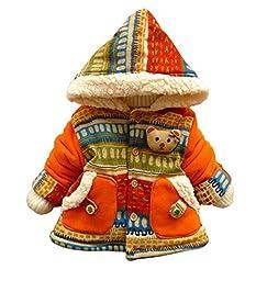 Metee Dresses Girls 3D Bear Bohemia Pocket Winter Warm Jacket Outwears Coat Size 18-24 Months