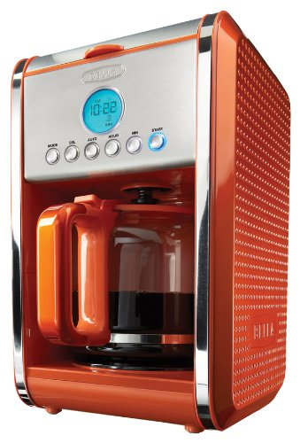 BELLA 13845 Dots Collection 12-Cup Programmable Coffee Maker, Orange