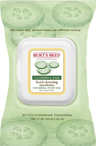 Burt'S Bees Facial Cleansing Towelettes, Cucumber And Sage, 30 Count front-1048367