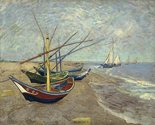 Wieco Art - Fishing Boats on the Beach at Les Saintes Maries Large Modern Framed Giclee Canvas Prints of Van Gogh Oil Paintings Seascape Pictures on Canvas Wall Art for Bedroom Kitchen Home Decor (Nautical Paintings compare prices)