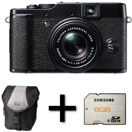 Fujifilm X10 Digital Camera - Black + Case and 8GB Memory Card (12MP EXR CMOS, 4x Optical Zoom) 2.8 inch LCD Screen