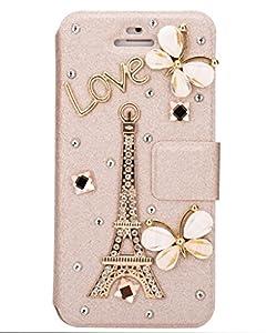 Unendlich U Schmuck ideal Geschenk für Weihnachten schön Schmetterling Eiffelturm Handy Ledertasche Schutz Hülle Brieftasche mit Ständer Halter Kreditkarte Karte für iPhone 5/5S