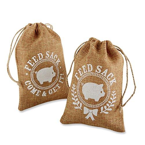 Kate Aspen Burlap Feed Sack Favor Bag, Brown
