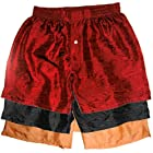 Set of Three Silk Boxers by Royal Silk - RED BLACK & ORANGE - MEDIUM 33-34