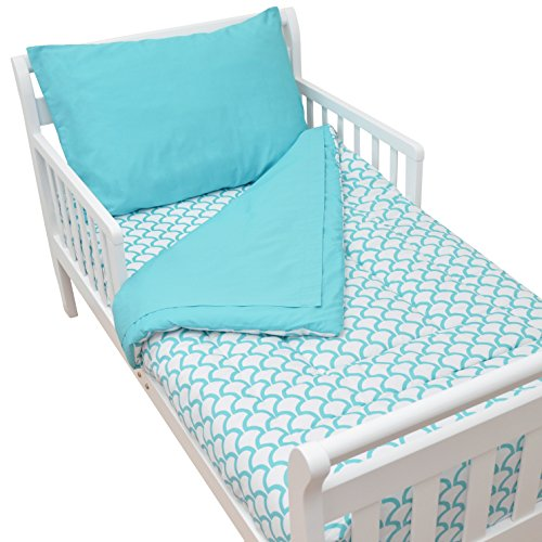 American Baby Company 100% Cotton Percale Toddler Bed Set, Aqua Sea Wave