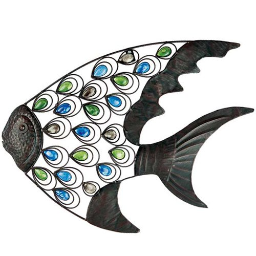 ANGELFISH - Indoor Outdoor Metal Decorative Wall Art with Beads - Grey