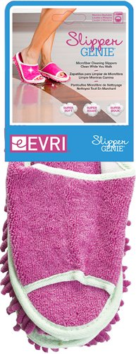 Slipper Genie Microfiber Cleaning Slippers, Pink