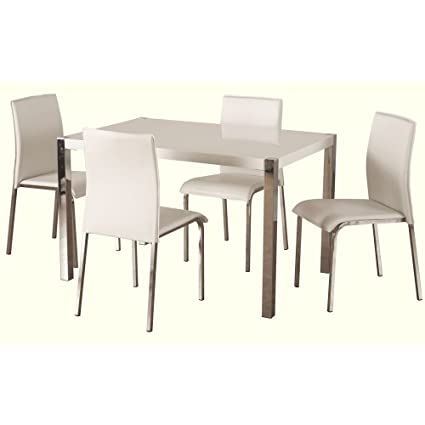 Boston 5 Piece Dining Set in White
