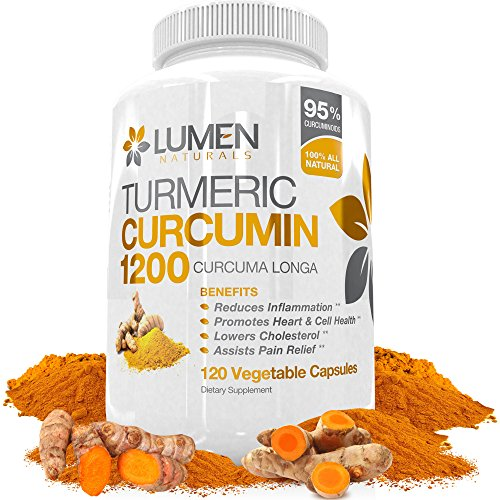 Lumen Naturals Turmeric Curcumin Extra Strength 1200mg with Bioperine (Black Pepper) - 120 Fast Acting Natural Anti Inflammatory Capsules - Supplement Shown to Support Joint Pain Relief & Reduce Inflammation - No Negative Side Effects