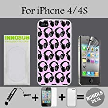 buy Headphones Dj Pattern Pink Custom Iphone 4 Cases/4S Cases-Clear-Plastic,Bundle 3In1 Comes With Hd Screen Protector/Universal Stylus Pen By Innosub