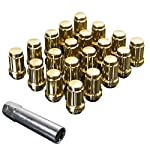 Upgr8 S-series 20 Pieces Steel Closed Ended Wheel Lug Nuts with Key (M12 X 1.25MM, Gold)
