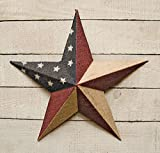 """Burlap Americana Barn Star - 18"""" Dimensional Metal Americana Flag Star - Primitive Country Rustic"""