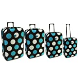 Karabar Set of 4 Lightweight Expandable Suitcases - 3 Years Warranty! (Black/Blue/White)