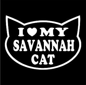 "I LOVE MY SAVANNAH CAT Feline cat love 5"" (color: WHITE) Vinyl Decal Window Sticker for Cars, Trucks, Windows, Walls, Laptops, and other stuff."