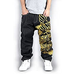 Generic Men's Hip Hop Street Style One Leg Graphic Painting Unwashed Baggy Jeans 42 Black