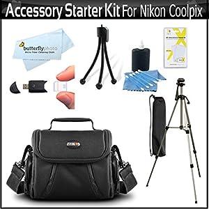 Accessory Starter Kit For The Nikon Coolpix L330, L110 L120, L310, L810 L820, L620, L830, L840 Digital Camera Includes Deluxe Carrying Case + 50 Tripod w/Case + Screen Protectors + Mini Tripod + More