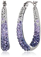 Carnevale Sterling Silver Colored Hoop Earrings with Swarovski Elements by Amazon Curated Collection
