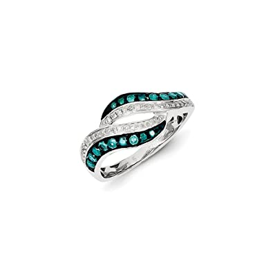 Black Bow Jewellery Company : Blue & White Diamond Swirl Tapered Ring in Sterling Silver