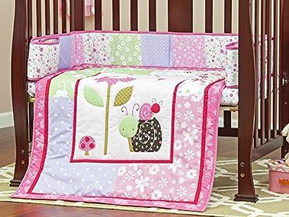 Dream On Me 3 Piece Set Reversible Portable Crib Bedding Set Spring