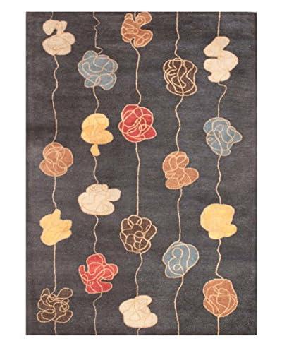 Floral Knots Rug, Dark Grey/Multi, 5' x 8'
