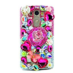LG Leon Case, Sense-TE Luxurious Crystal 3D Handmade Sparkle Diamond Rhinestone Clear Cover with Retro Bowknot Anti Dust Plug - Rose Butterfly Flowers / Hot Pink