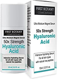 First Botany Cosmeceuticals 50X Strength Hyaluronic Acid Serum for Skin - The Ultra Moisture Magnet Anti aging Serum 0.5 fl. oz