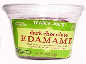 Trader Joe's Dark Chocolate Edamame Dark Chocolate Covered Soybeans with 7 Grams of Soy Protein Per Serving No Gluten Ingredients Used 10 Oz / 284 G About 7 Servings
