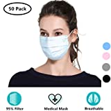 Cshopping Surgical Disposable Face Masks, Respirator Mouth Mask Medicom Safety Cover, Protective Safe Mask with Elastic Ear Loop, Block Dust Air Pollution Flu-50 Pieces (Color: Blue)