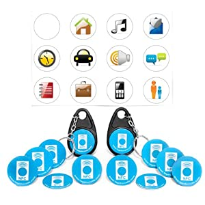 NFC Tags - 10 LifeProof PVC Tags (5 Anti-Metal) + 2 NFC Keychains (Tags & Keychains are MIFARE 1K) + 1 Sheet of Vinyl Waterproof Stickers - Tags and Keychains are NDEF Formatted NFC Chips - Android NXP & Windows 8 (WP8) Compatible - AT&T Sprint Verizon Wireless - Nokia Samsung Galaxy S3 S2 - Limited Lifetime Guarantee