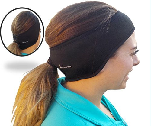 Finish It! Gear - Made in the USA - Women's Ponytail Headband with Double Fleece Sewn into Ear Area for Extra Warmth. Perfect Running Headband Ear Warmer for Winter Weather, Super Moisture Wicking (Warm Weather Running Gear compare prices)