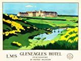 TRAVEL TOURISM TRANSPORT HOTEL GLENEAGLES SCOTLAND LMS RAILWAY GOLF FINE ART PRINT POSTER 30x40cm CC2069