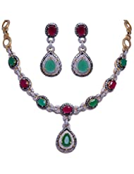 Gehna Oval Ruby & Emerald Stone Studded Necklace Set With Two Tone Rhodium Plating