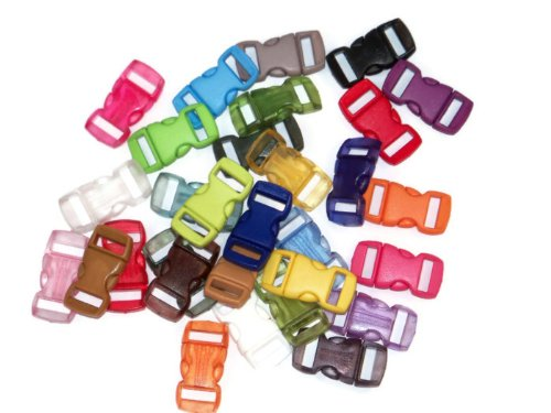 """Midwest Cord Paracord Buckles - 3/8"""" Webbing Slot Small Plastic Buckles for Parachute Cord Bracelets and Crafts"""