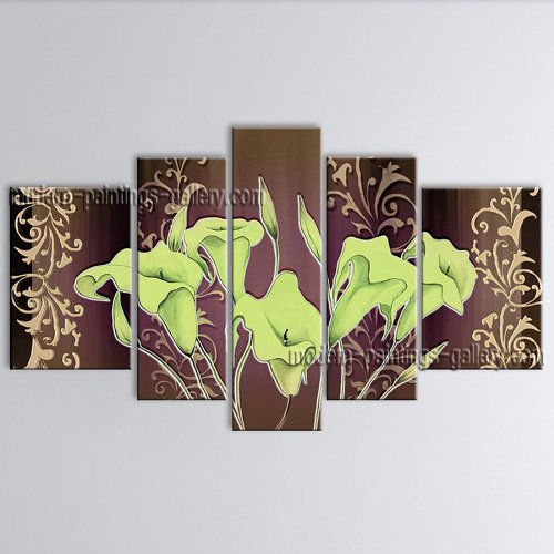 5 Pieces Contemporary Wall Art Floral Painting Lily Decoration Ideas Original Contemporary Paintings