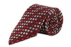 TIE & CUFFS Combo of Maroon Foulard Neck Tie, Cufflink and Pocket Square