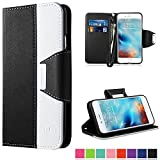 iPhone 6 Case, iPhone 6S Case,Vakoo Wallet Leather Folio Slim Fit Soft TPU Back Case for Apple iPhone 6/6S with Magnetic Closure and Wrist Strap - Black / White