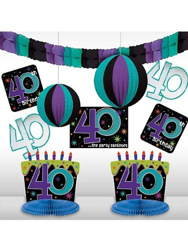 Amscan Printed The No. 40 Lively Decorating Kit, Black/Purple/Teal