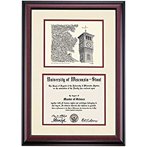 Amazon.com - Wisconsin Stout Blue Devils Diploma Frame Ivory Maroon ...