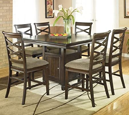 7PC Square Counter Height Table and Stools Set