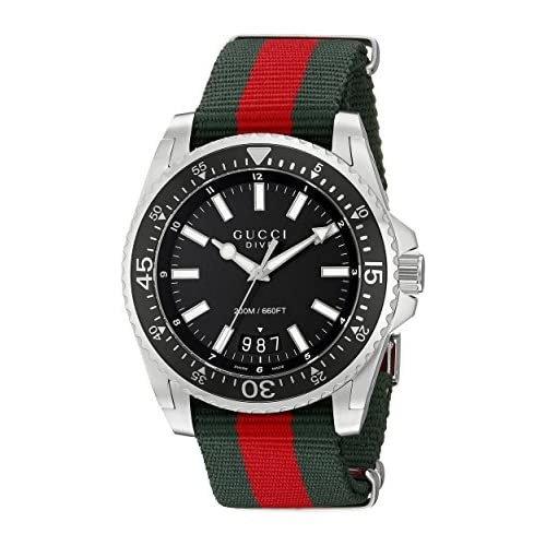 Gucci Dive Men's Quartz Watch with Black Dial Analogue Display and Multicolour Nylon Strap YA136206