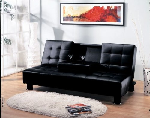 ACME 05574 Monticello Adjustable Sofa Set, Black Polyurethane Finish